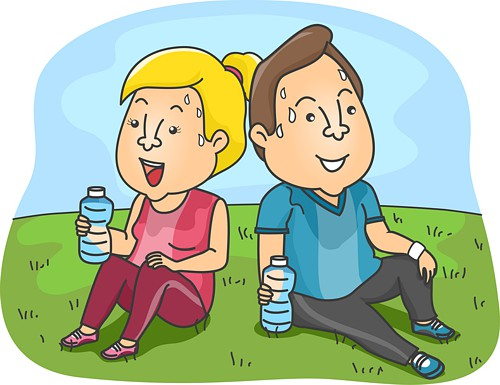 Illustration of a Couple Taking a Rest from their Workout